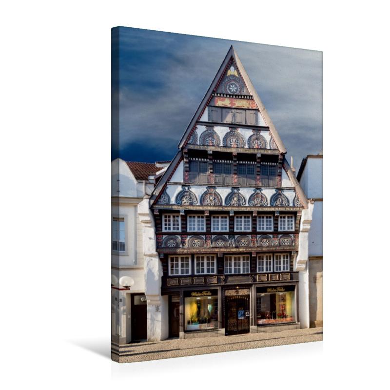 Osnabrück Fachwerkhaus (Premium Textil-Leinwand, Bild auf Keilrahmen ...
