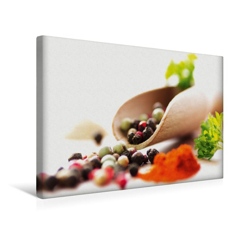 Bunter Pfeffer Mix für die Küche (Premium Textil-Leinwand ...